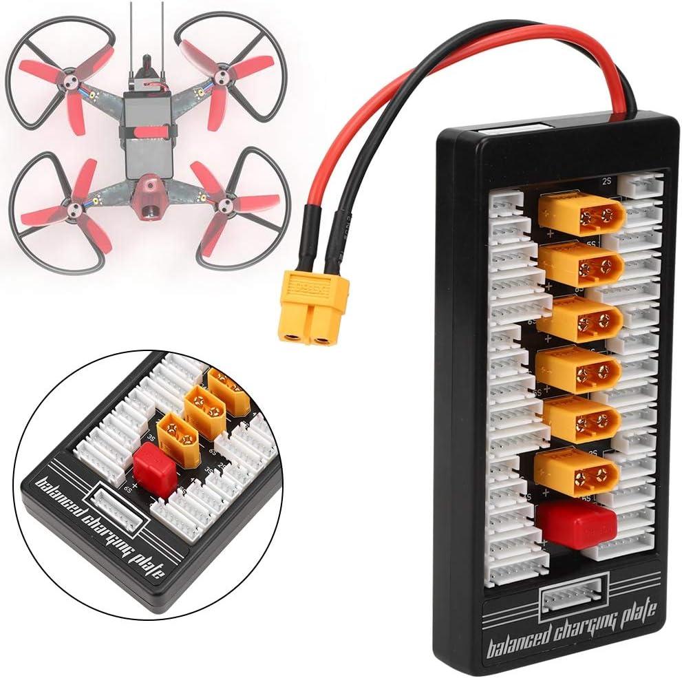 2S-6S XT60 Stecker Parallel Charging Board RC Batterieladekarte para Board Dilwe RC Parallel Board Schwarz