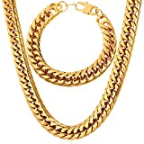 U7 Classic Cuban Curb Chain,6mm-12mm Wide, Chunky Heavy Chain For Men,Punk Style Jewelry Set, Bracelet 8.3 Inches/22-30 Inches Necklace Length