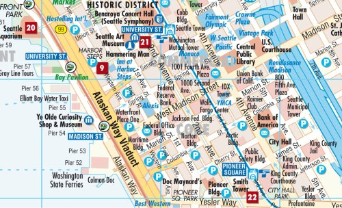 Laminated Seattle City Map by Borch Maps English Spanish French