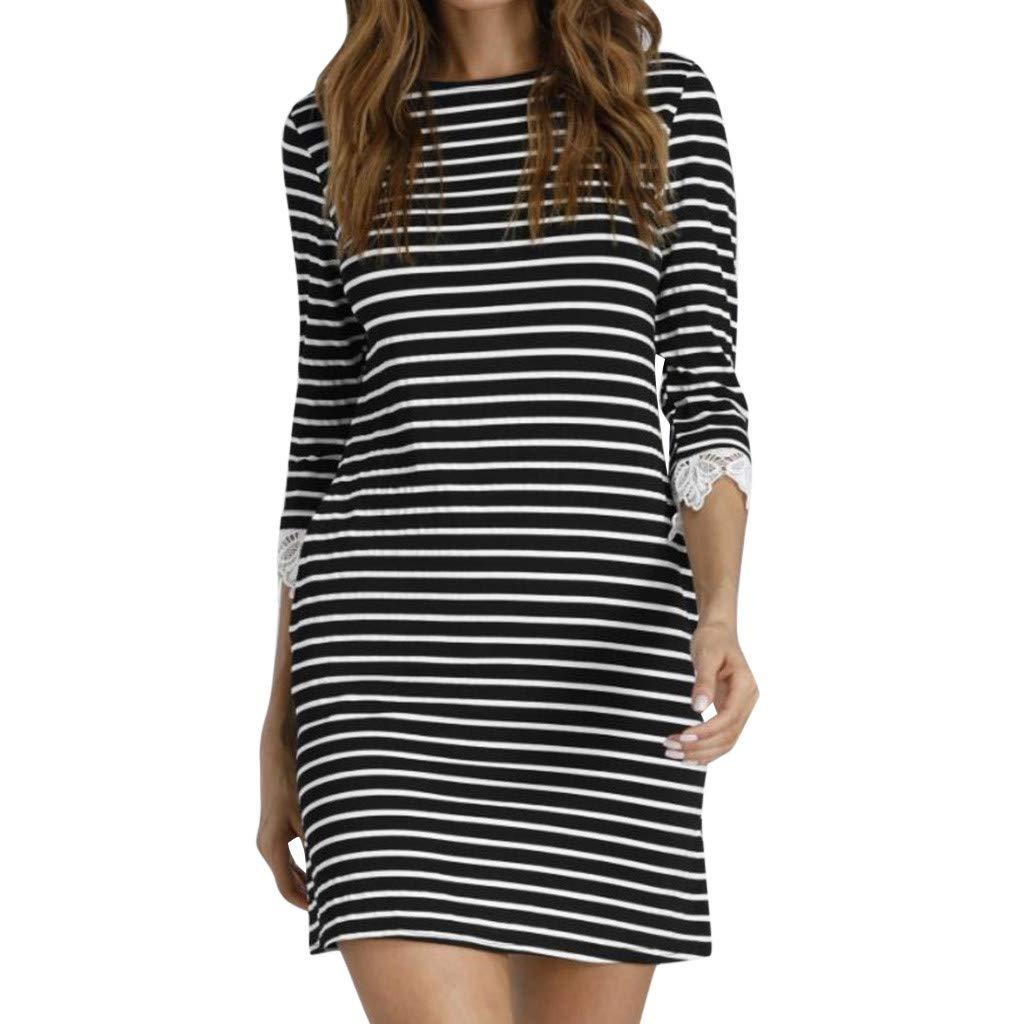 Womens H-Line Mini Short Skirts Casual Striped Lace Fashion Three Quarter Mini Sundress Dress (S, Black) by KoLan Women Dress (Image #1)