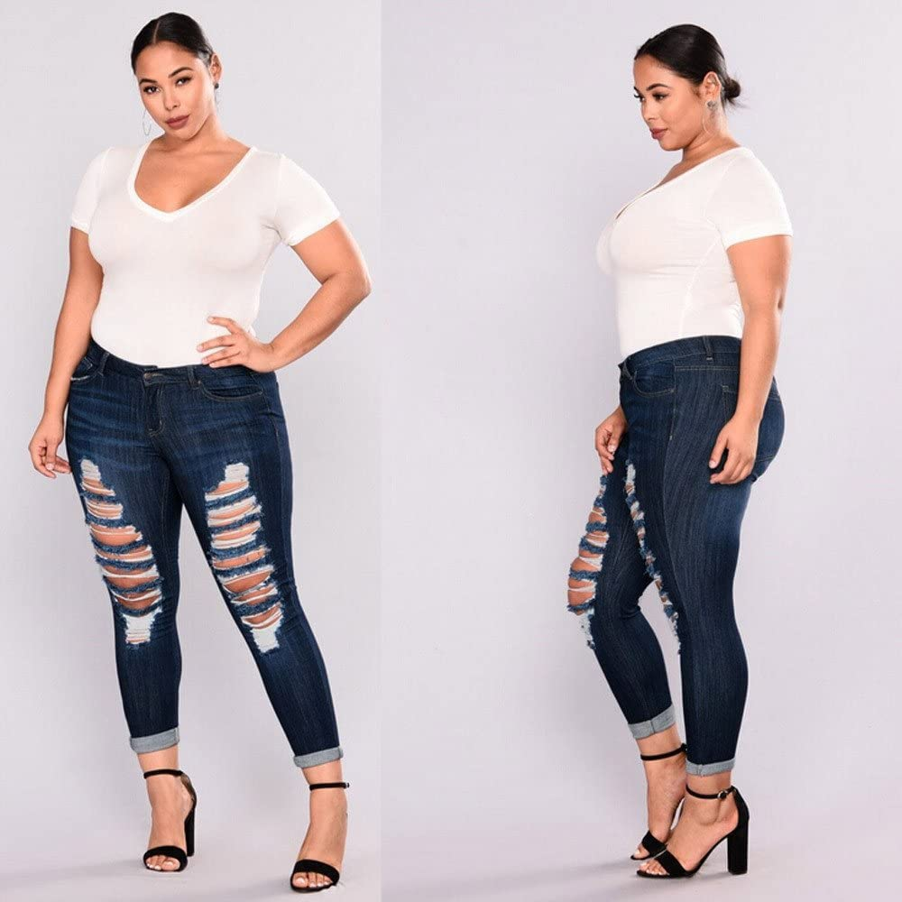 Womens High Waisted Stretch Destroyed Ripped Skinny Jeans Butt Lift Stretch Ripped Skinny Jeans