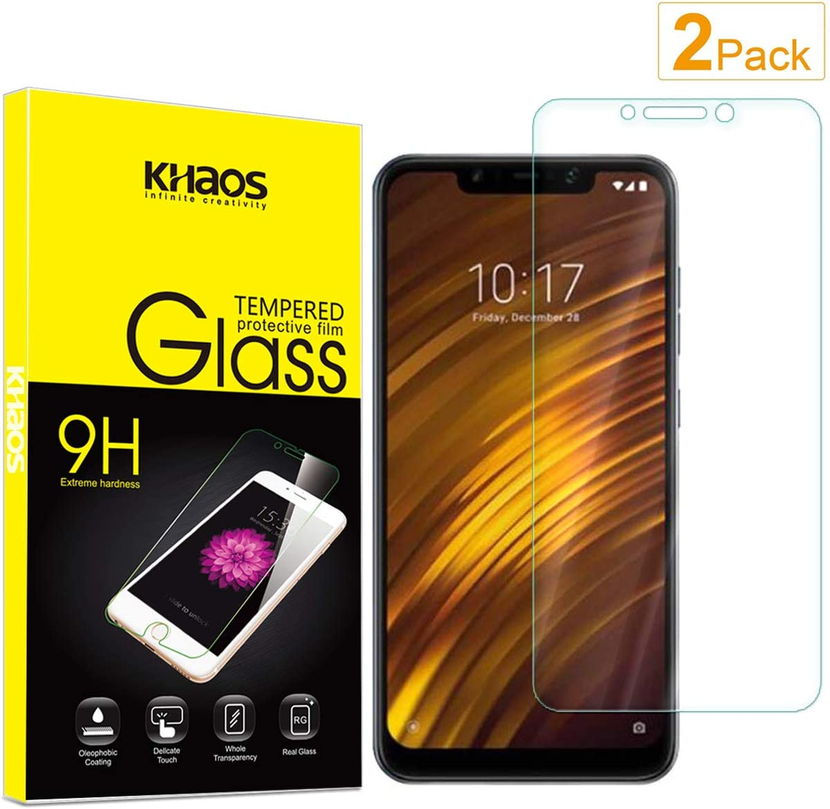 Amazon Com For Xiaomi Pocophone F1 Screen Protector 2 Pack Khaos Tempered Glass Screen Protector For Poco F1 9h Hd Clear Ant Scratch Glass Protector