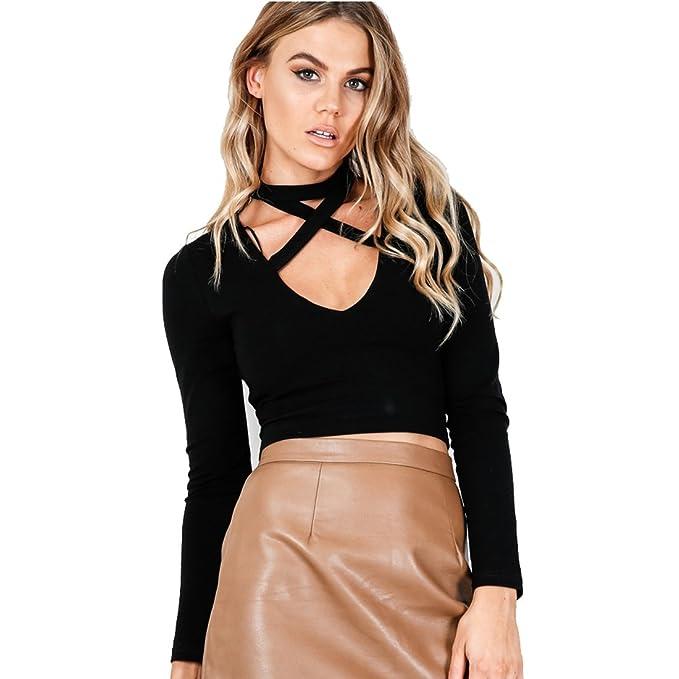 521dc22d4eb242 Amazon.com: V-neck long Sleeve Choker Top (Black): Clothing