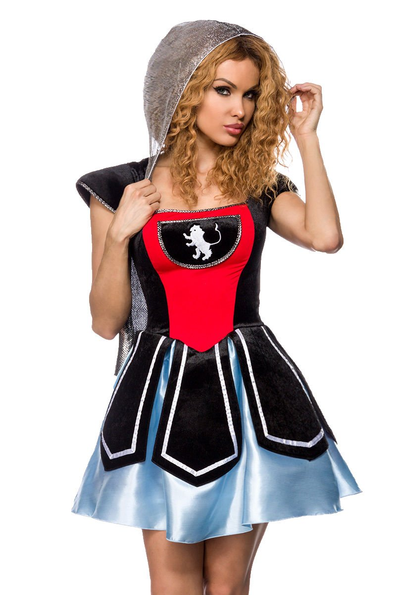 AT Damen Ritter Kostüm Karneval Set: Kleid mit Kapuze, String, Größe: XS-M (34-38)
