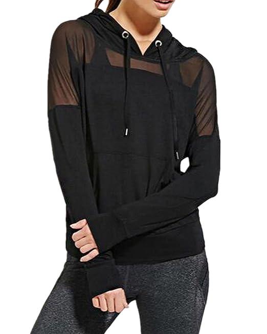 StyleDome Camiseta Sudadera Transparente con Capucha Mangas Largas Blusa Mujer Deportiva Negro EU 36