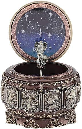 Caja de música Vintage con 12 Constelaciones Luces LED giratorias de Diosa Mecanismo Tallado de Resina centelleante Caja Musical como Regalos para cumpleaños, Fiestas.(Tauro): Amazon.es: Hogar