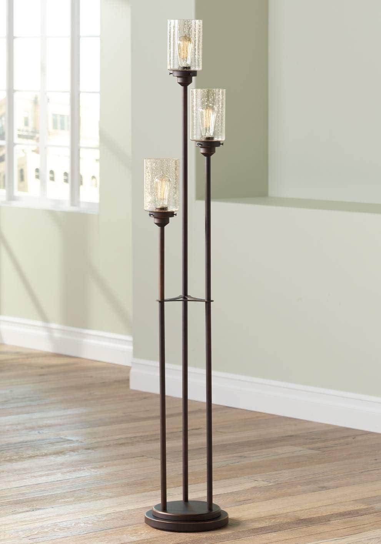 Libby Vintage Floor Lamp 3-Light Oiled Bronze Amber Seedy Glass Dimmable Antique LED Edison Bulb