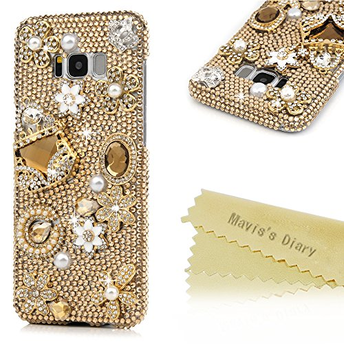 S8 Plus Case,Samsung Galaxy S8 Plus Case 3D Handmade Bling Gold Diamond Bag Flowers Silver Crown with Shiny Sparkle Rhinestone Gems Crystal Clear Full…