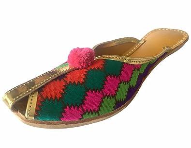 Step n Style Schritt N Style Damen Ethnic Schuhe Khussa jutti Kameez Rajasthani Perlen Schuhe, Schwarz - schwarz - Größe: 36