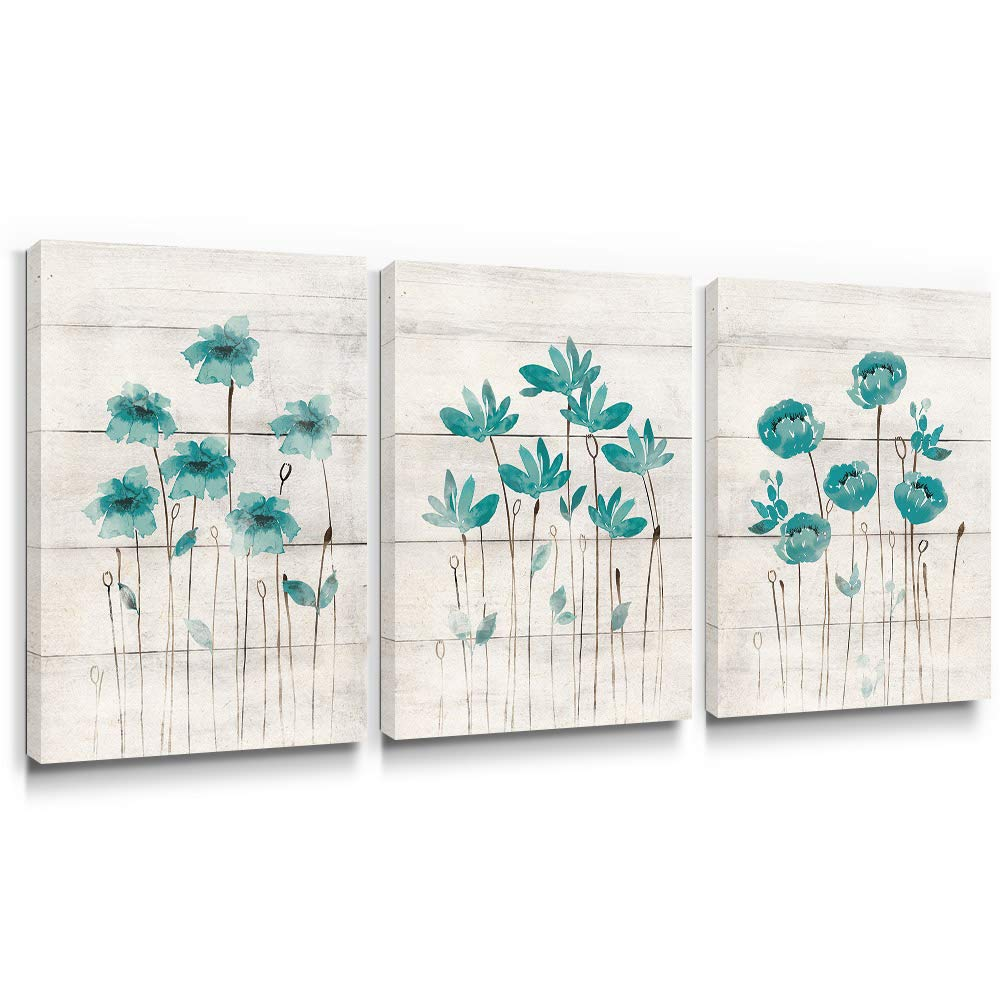 SUMGAR Canvas Wall Art Living Room Farmhouse Decor 3 Piece Blue Flower Pictures Bedroom Rustic Teal Paintings Turquoise Floral Artwork Set Grey Prints Gray Bathroom Home Decorations,12x16 inch