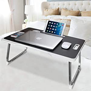 Laptop Desk for Bed, Adjustable Lap Bed Tray Table, Foldable Notebook Stand Reading Holder with Handle, Card Slot and Cup Holder for Couch Floor, Eating, Reading, Watching on Bed/Sofa/Dorm-White