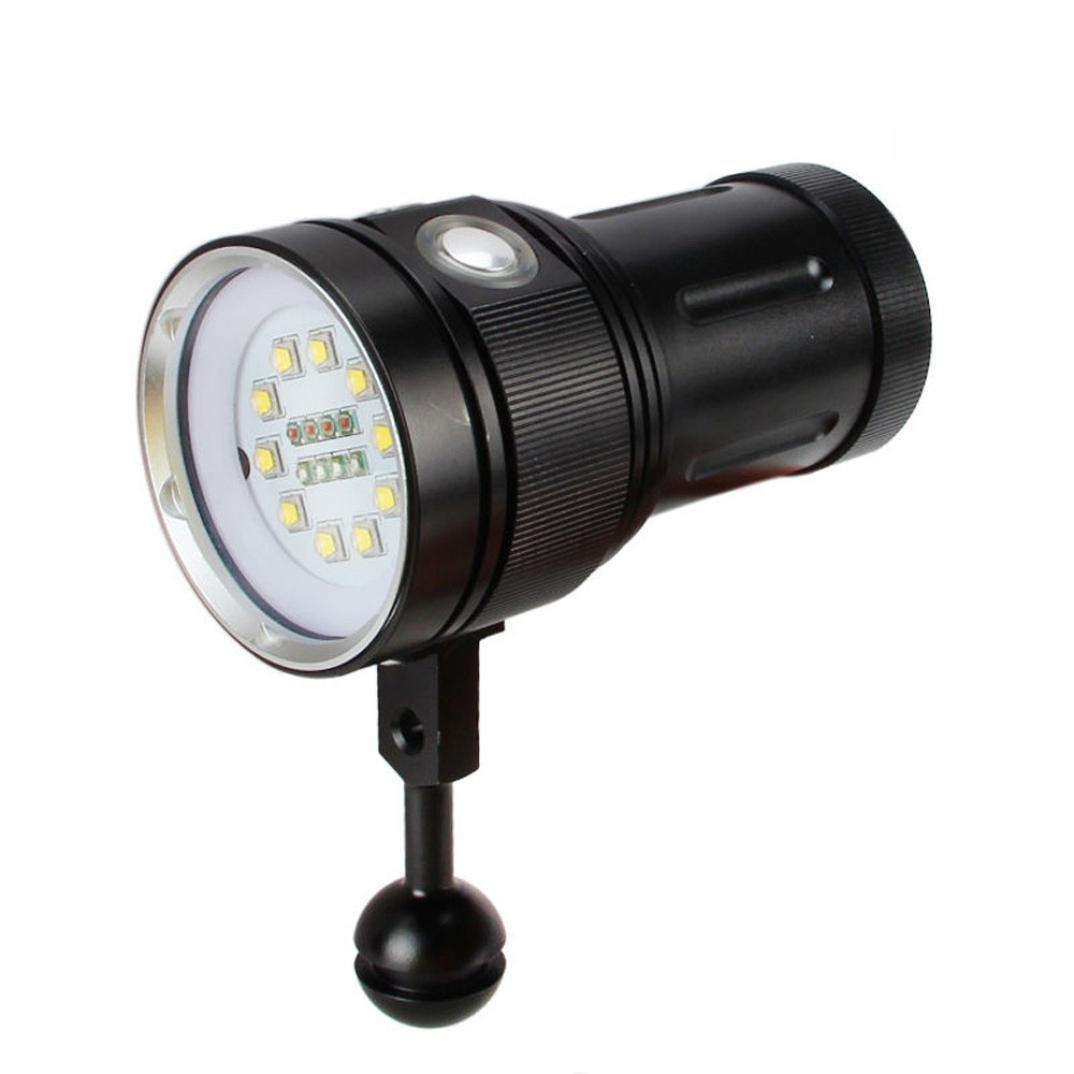 Dreamyth 10x XM-L2+4x R+4x B 12000LM LED Photography Video Scuba Diving Flashlight Torch (Black)