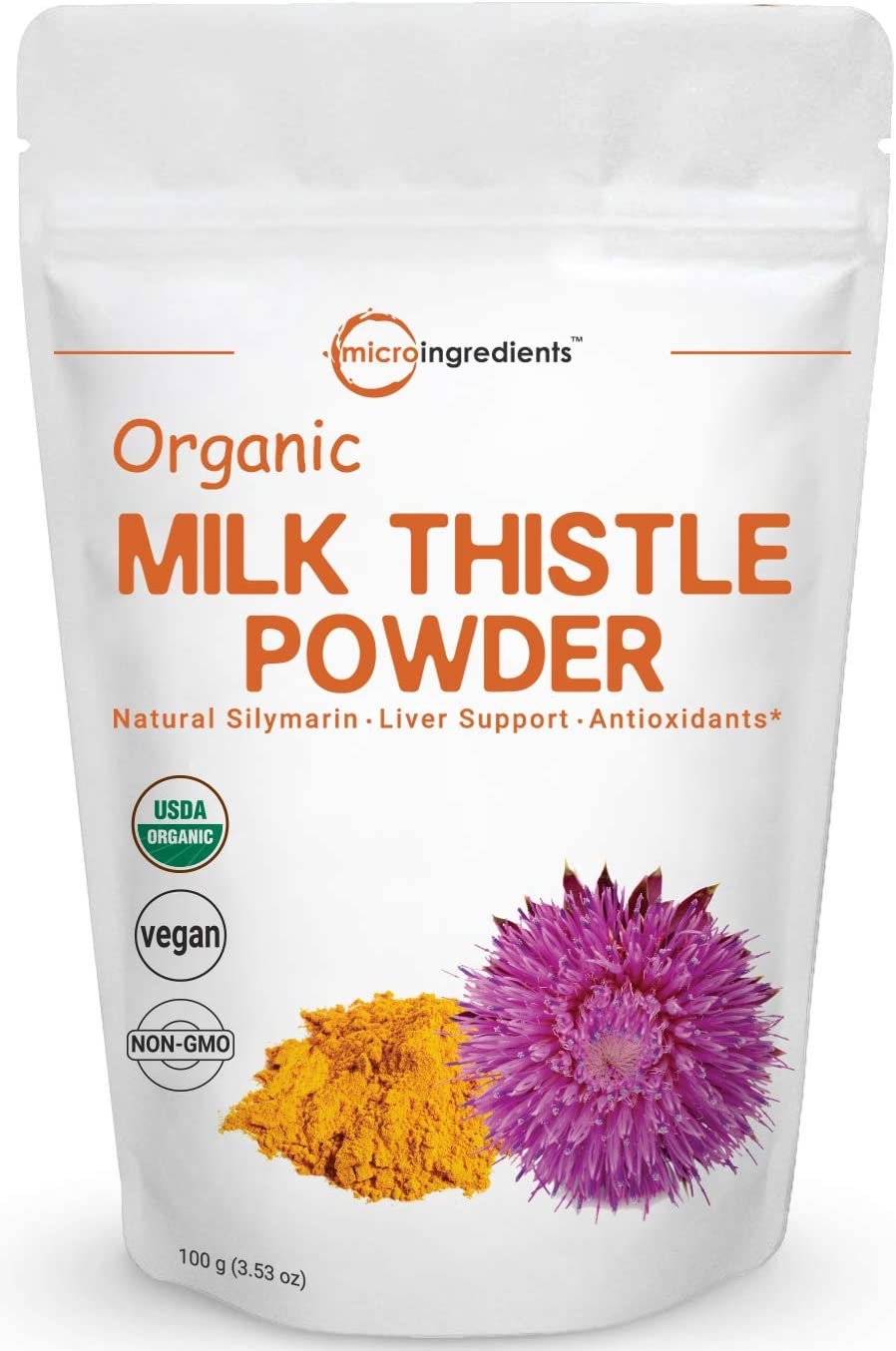Maximum Strength Organic Milk Thistle Extract, 3.5 Ounces 100 Grams , Pure Milk Thistle Powder Organic, Contains 80 Active Silymarin, Strongly Supports Liver Health and Antioxidant, Vegan Friendly