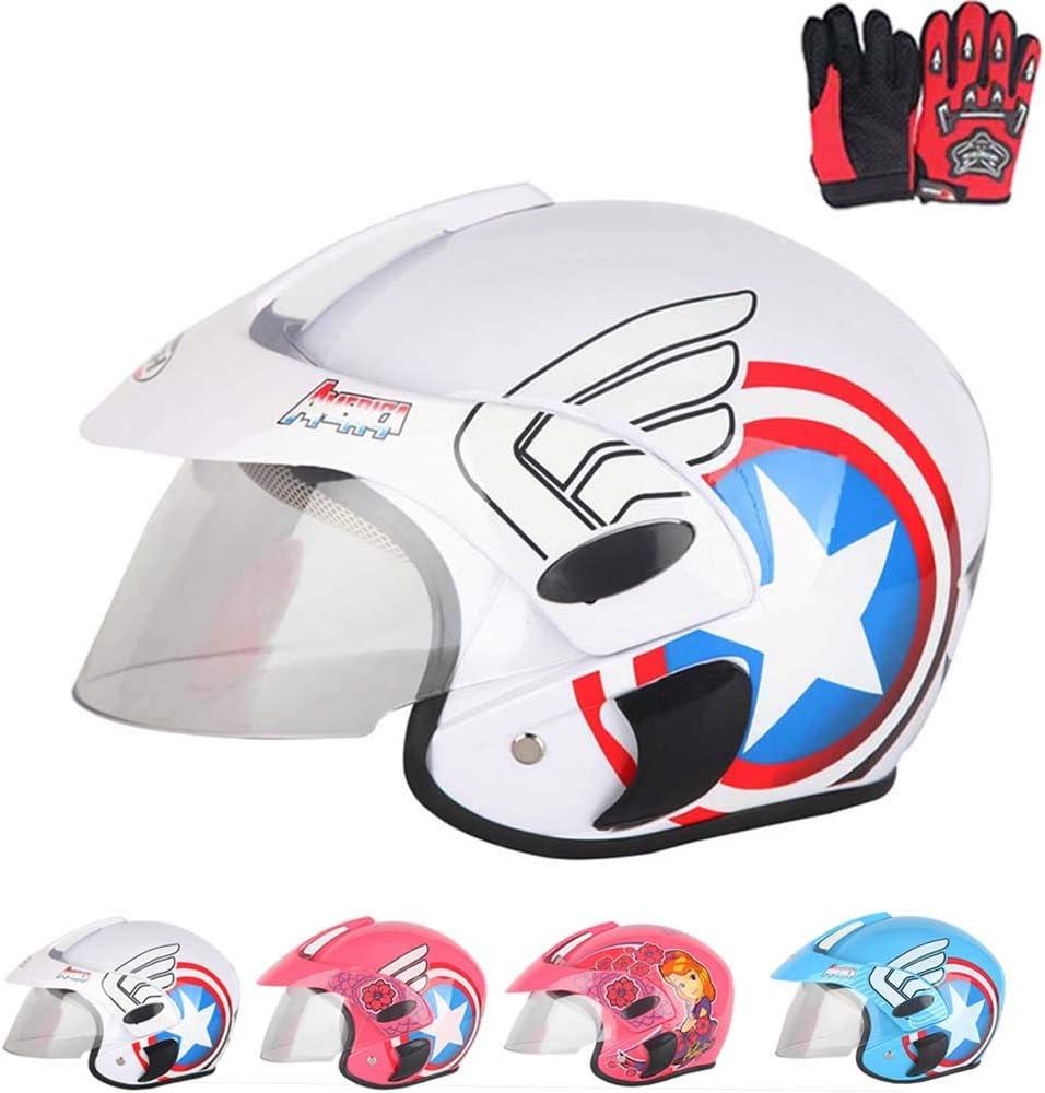 Blanc Bleu Rose pour Choix 47~52Cm Gants Cadeaux,2 Gar/çons Et Filles Angel Bouclier Ados Jeunes Casque Moto Casque De Moto pour Les Enfants