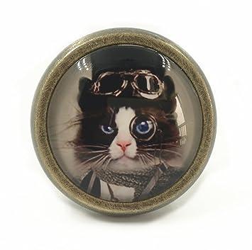 Steampunk Cat   Drawer Knobs Pulls Handles / Kitchen Cabinet Knobs Handle  Pull / Antique Brass