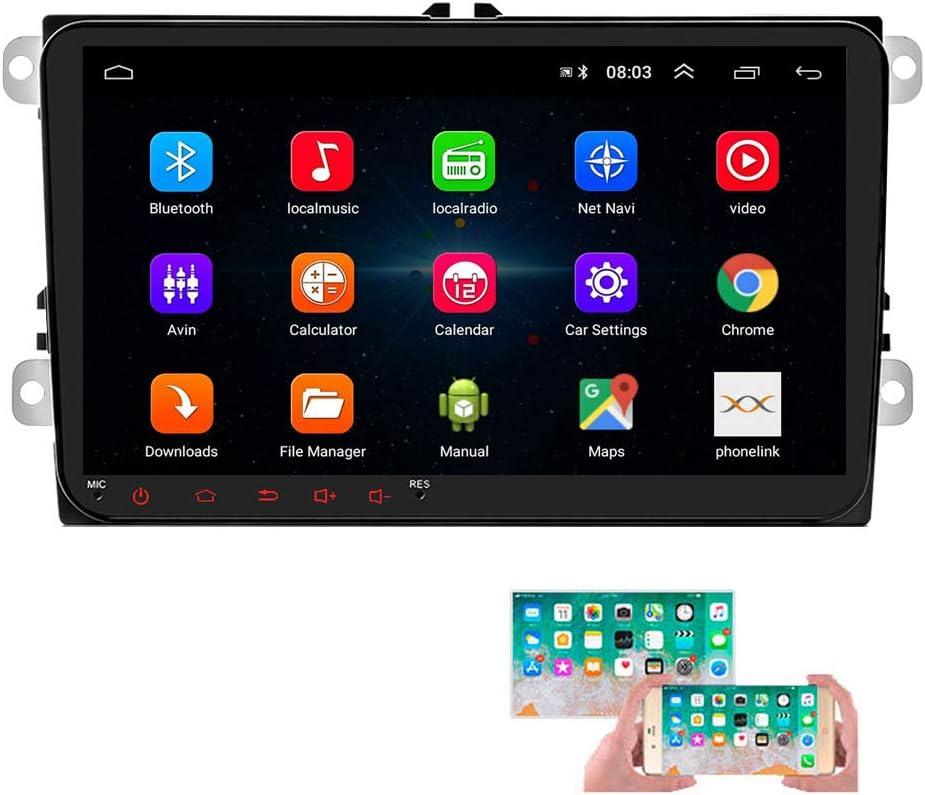 Android Car Radio para VW GPS Navigation CAMECHO Pantalla táctil capacitiva de 9 Pulgadas Bluetooth Car Stereo Player WiFi FM Radio Receptor Dual USB para Golf Polo Touran Tiguan Seat Altea