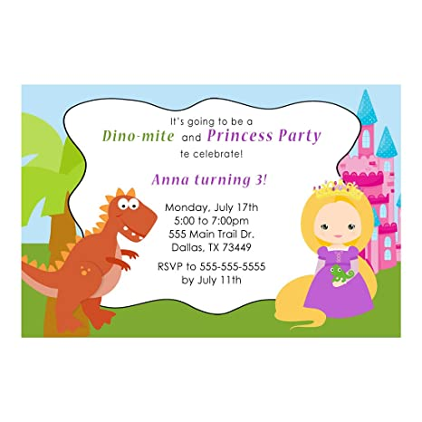 Amazon 30 Invitations Dinosaur T Rex Blonde Princess Girl Boy