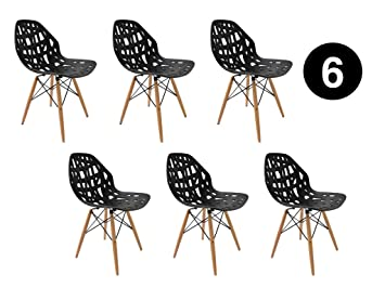 IBH DESIGN Lot 6 Chaises Madrid Noir Scandinaves Chaise Salle A Manger