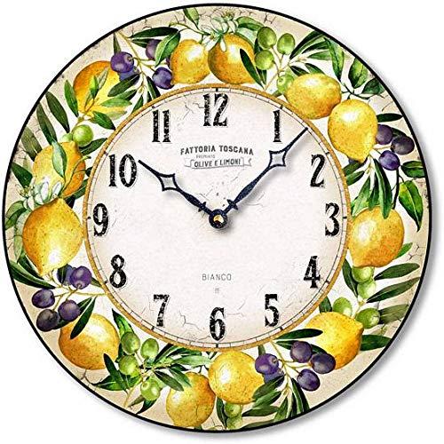 (Fairy Freckles Studios Italian Pottery Style Lemon Wall Clock C8029 (Ivory))