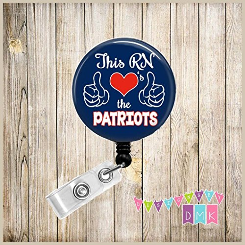 - This RN Loves the PATRIOTS - Blue & Red - School Spirit - Button Badge Reel