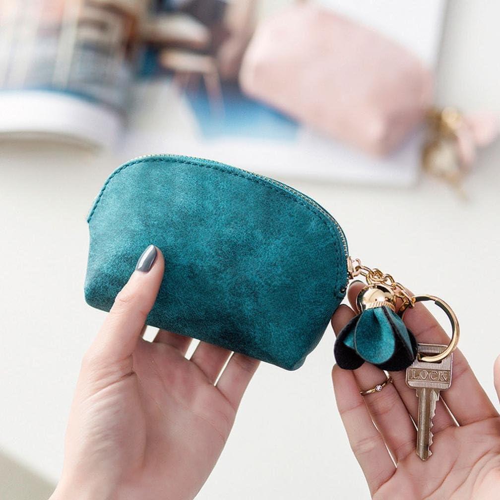 Rameng Mini Portefeuille Sac a Main Femme Porte-Monnaie en Cuir avec Pendentif Fleur Beige