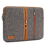 "DOMISO 15.6 Inch Unique Canvas Laptop Sleeve Case 3 Side Pockets Functional Computer Bag for 15.6"" Notebook / Lenovo / Acer / ASUS / HP / Dell / Toshiba , Brown"