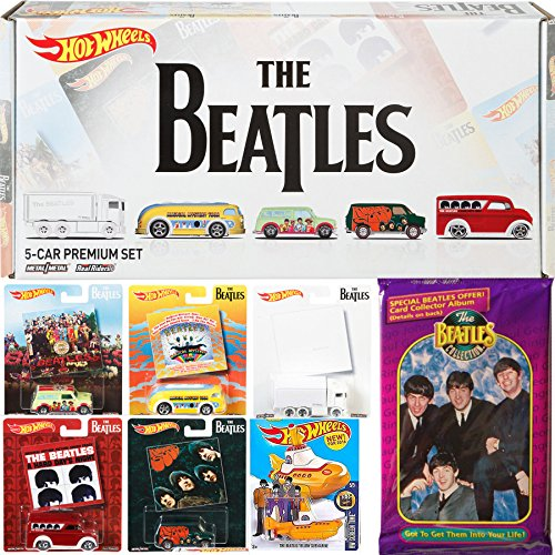 Hot Wheels Beatles Exclusive Premium Box Set with The Yellow Submarine & Trading Cards Collection 6-Car Bundle - Album Covers Rubber Soul / Hard Days Night / Magical Mystery / Sgt. Peppers / White