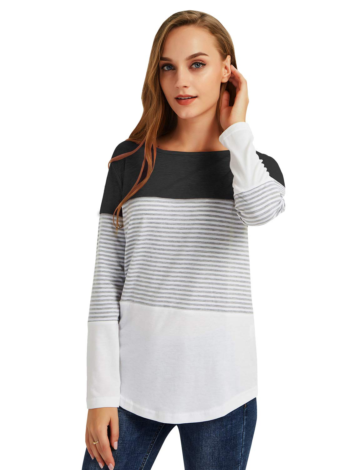 Gititlys Loose T-Shirts for Women, Casual Long Sleeve Sweatshirts Round Neck Shirts for Women, Lightweight Striped Sleeve Tops Blouses for Women M