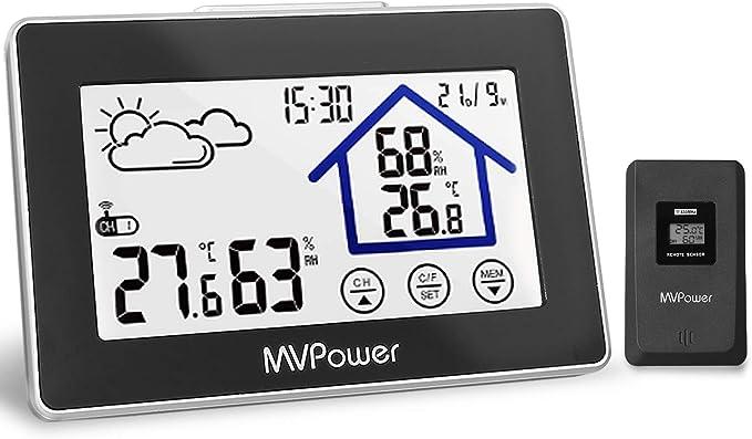7 opinioni per MVPower- Stazione Meteorologica Wireless Digitale, con Sensore Esterno, Display