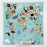 59 x 59 Inches Kids Fleece Throw Blanket Educational World Map Africa Camel America Lama Allegator Ocean Australia Koala Classroom Home Decorations Blanket