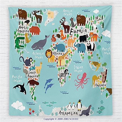 59 x 59 Inches Kids Fleece Throw Blanket Educational World Map Africa Camel America Lama Allegator Ocean Australia Koala Classroom Home Decorations Blanket by iPrint