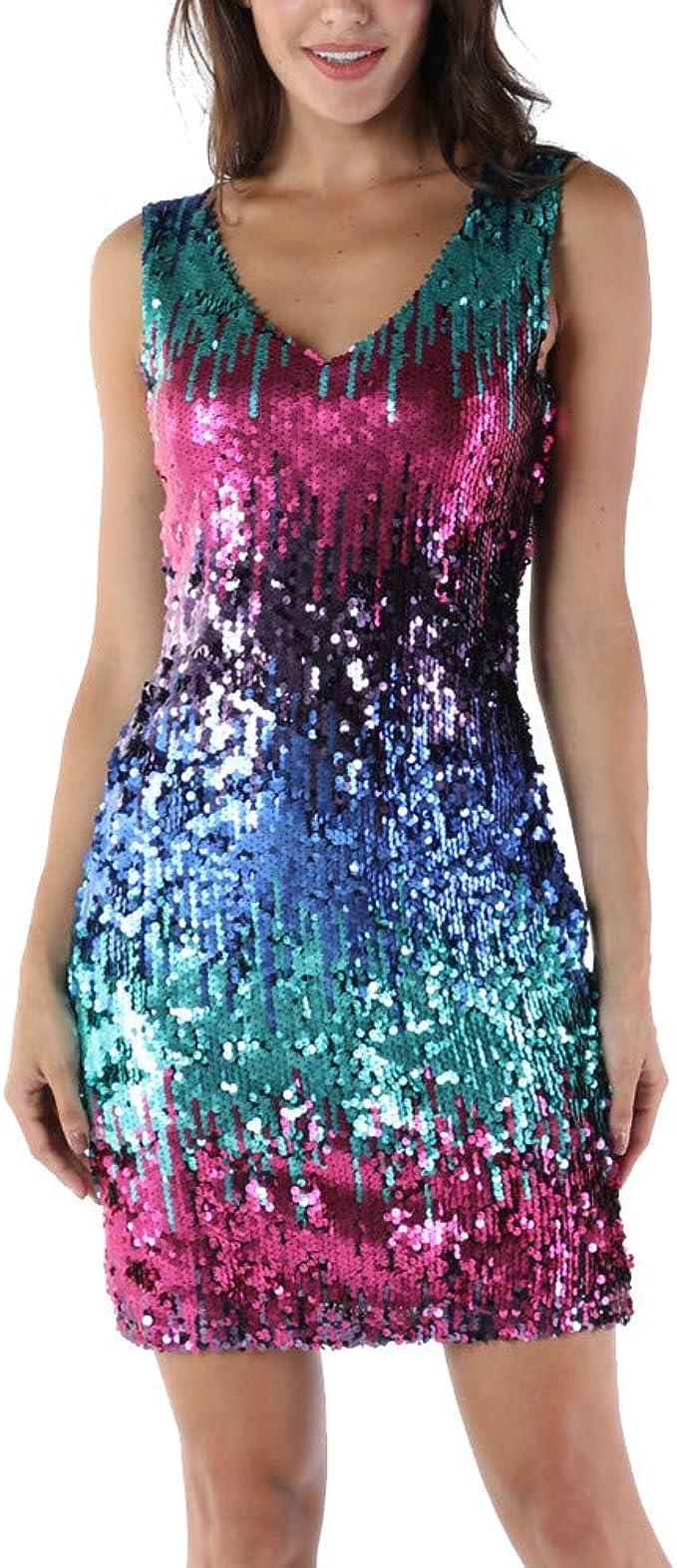 Longra Damen Paillettenkleid Minikleid Ärmellos V-Ausschnitt Sparkly  Glitzer Cocktailkleid Abendkleid Partykleider Bodycon Etuikleider Festliche