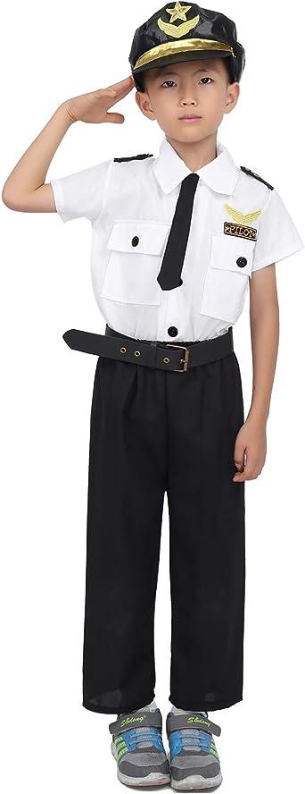 MSemis Disfraz Policía para Niños Niñas Unisex Traje Piloto Camisa Pantalones Cinturón Gorro y Corbata Uniforme Vestuario Piloto 4Pcs Disfraces Halloween Navidad Blanco y Negro 7-8 Años: Amazon.es: Ropa y accesorios