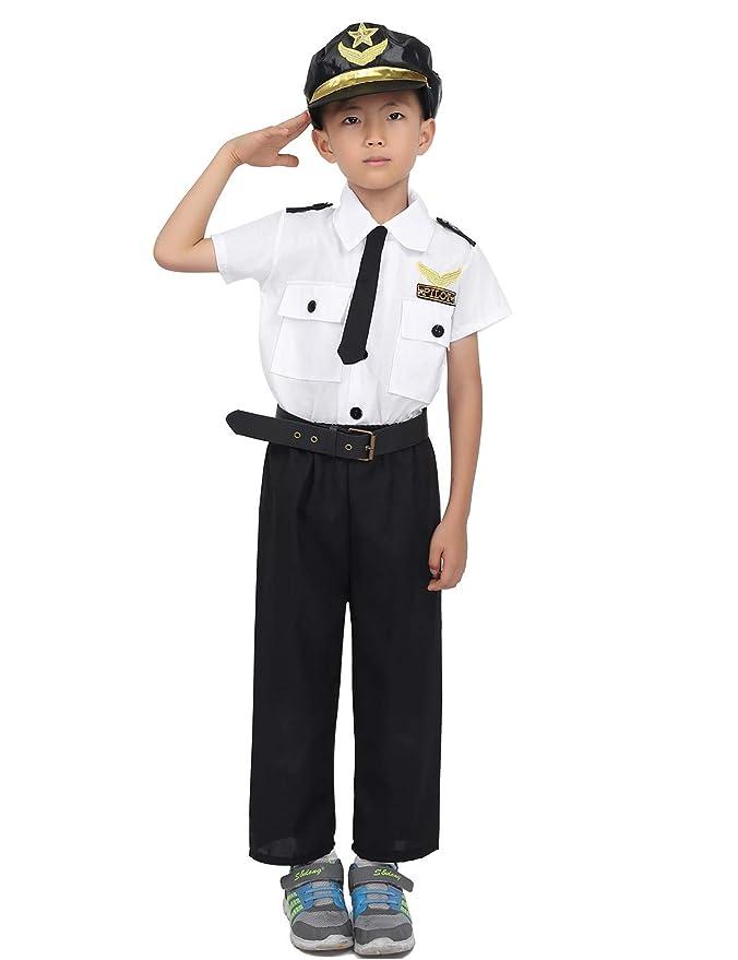 inlzdz Disfraz de Piloto Aviador para Niños Niñas Uniforme ...