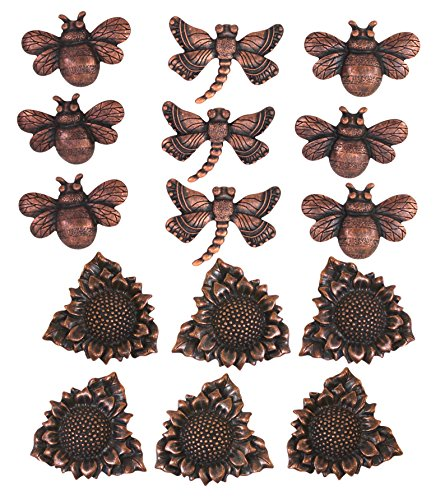 Home Interiors Bronze Push Pins 15-Pack: Bumble Bees, Dragonflies, & Sunflowers
