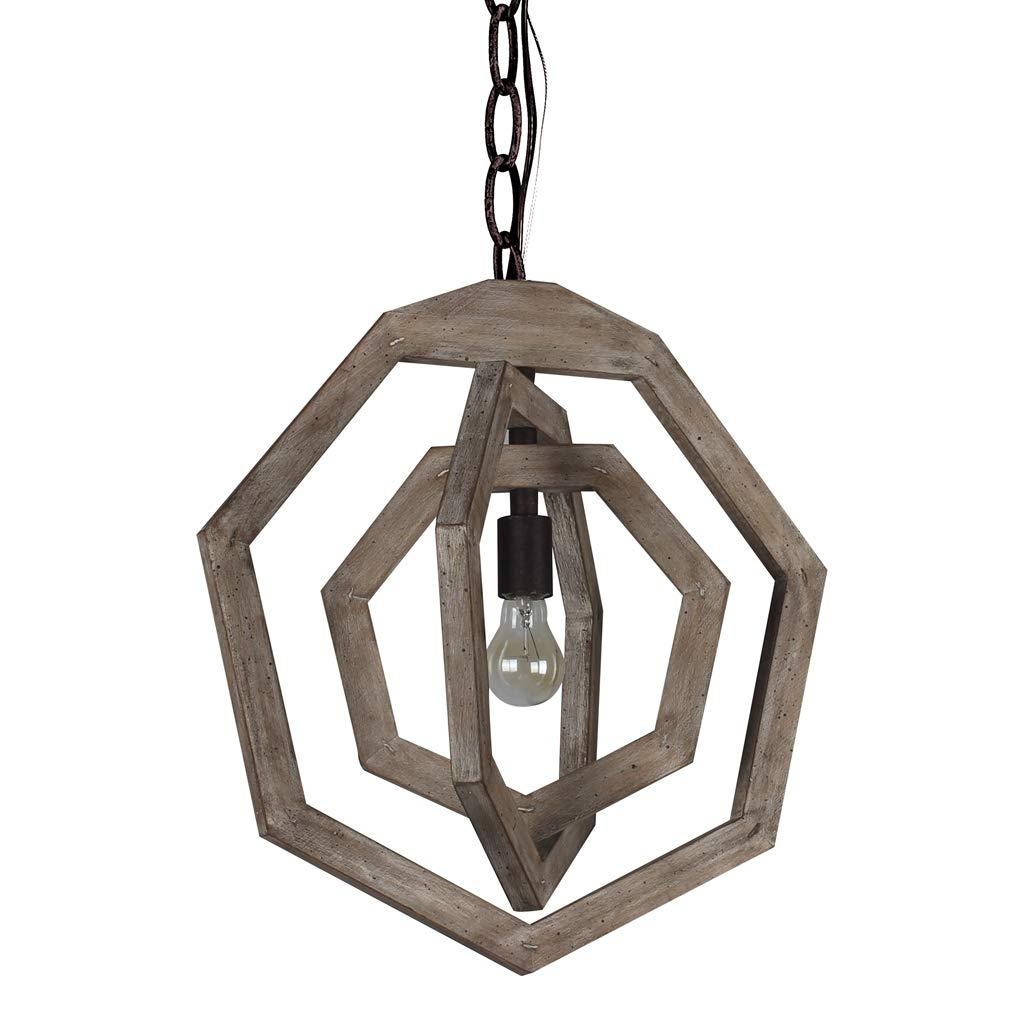 Docheer Vintage Wood Chandelier Shabby Chic Wooden Chandeliers 1-Light Rustic Metal Pendant Chandelier Light Fixtures Home Decor for Dinning Room, Bedroom, Foyer, Hallway, Entryway