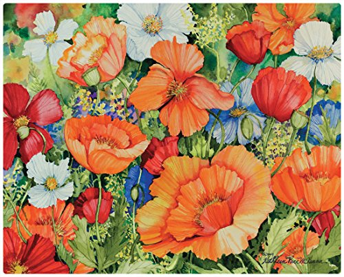 Magic Slice Lively Poppies by Kathleen Parr McKenna Non-Slip Flexible Cutting Board, 12