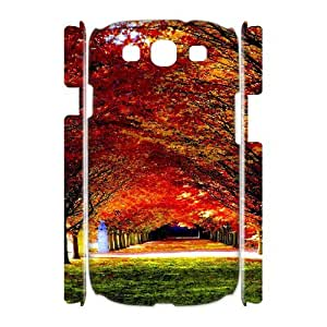3D {Road & Highway Series} Samsung Galaxy S3 Case Woods Road 03, Case Dustin - White