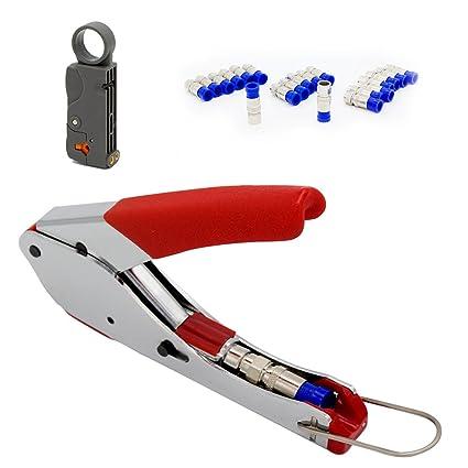 F de compresión Alicate Juego Cable Coaxial universal Pelacables con pelacables Cuchillo y 20 Conector para