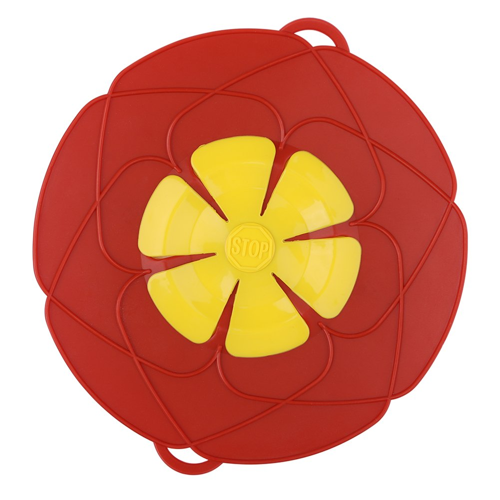 Silicone Lid Anti-overflow Cover Fresh Stop Boiling High Temperature Resistance Splash Proof Dust Cover Flower Type Lid Kitchen tools (Red) Lee's Bazaar gg