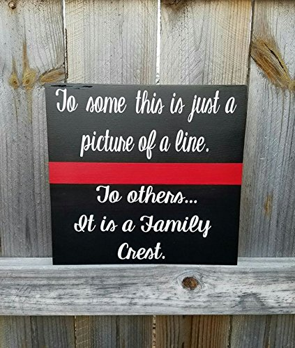 WOODSIGNS QMSING Firefighter - Fireman Wife - Thin Red Line Sign - Thin Red Line - Fireman Support - Fireman Crest - Family Crest - Fireman Husband - Family 7.28 x 7.28 inch