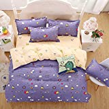 Honey Bee Purple Bedding Set Duvet Cover Pillow Sham Flat Sheet Teen Kids Boys Girls Bedding, King Size