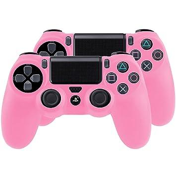 SMARDY Bundle - 2X Funda Cubierta de Silicona para Playstation 4 / PS4 Dualshock 4 Controller Controlador Mandos, Rosa