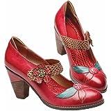 Women's Flower Power Handpainted Red Mary Jane Shoe - Medium Heel