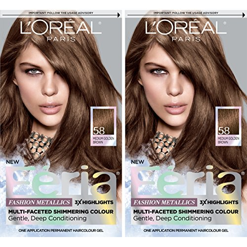 L'Oréal Paris Feria Multi-Faceted Shimmering Permanent Hair Color, 58 Bronze Shimmer, 2 COUNT Hair Dye