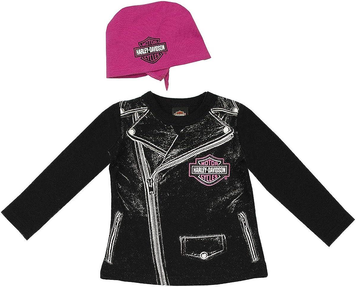 Harley-Davidson Baby Girls/' Beanie /& Biker Booties Set Pink /& Black 7000881