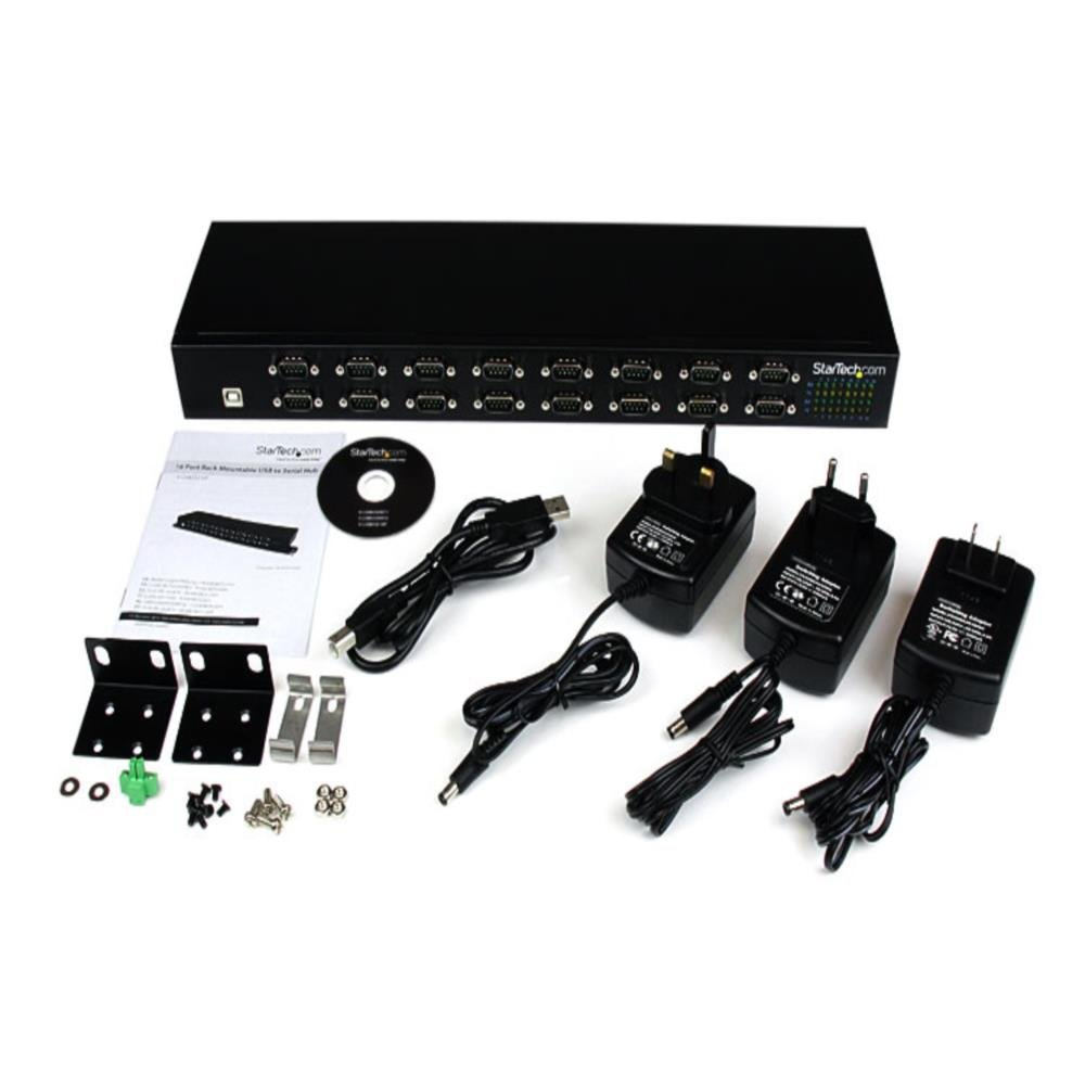 StarTech.com USB to Serial Hub – 16 Port – COM Port Retention – Rack Mount – FTDI USB to RS232 Hub – USB Serial DB9 (9-pin)