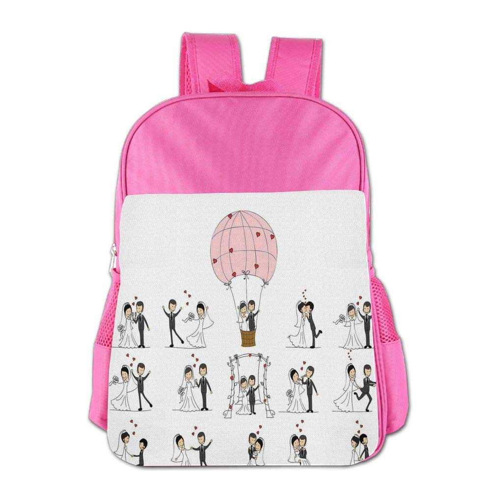 Haixia Child Boys'&Girls' Backpack Wedding Decorations Bride and Groom Wedding Pictures in Comic Book Style Honeymoon White Black Pink