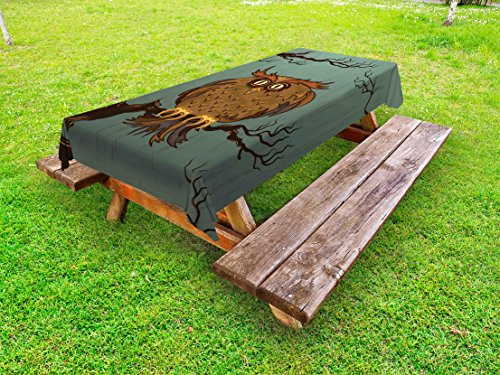 Ambesonne Owl Outdoor Tablecloth, Exhausted Hangover Tired Owl in Oak Tree with Eyebrows Nature Cartoon Funny Artwork, Decorative Washable Picnic Table Cloth, 58 X 104 inches, Blue Brown (Funny Work Cartoons)