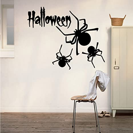 Happy Halloween Spider Wall Decals Window Stickers Halloween Decorations  for Kids Rooms Nursery Halloween Party, 22.4 x 14.1 Inch